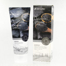 [3W CLINIC] Пенка для умывания натуральная УГОЛЬ Charcoal Cleansing Foam, 100 мл